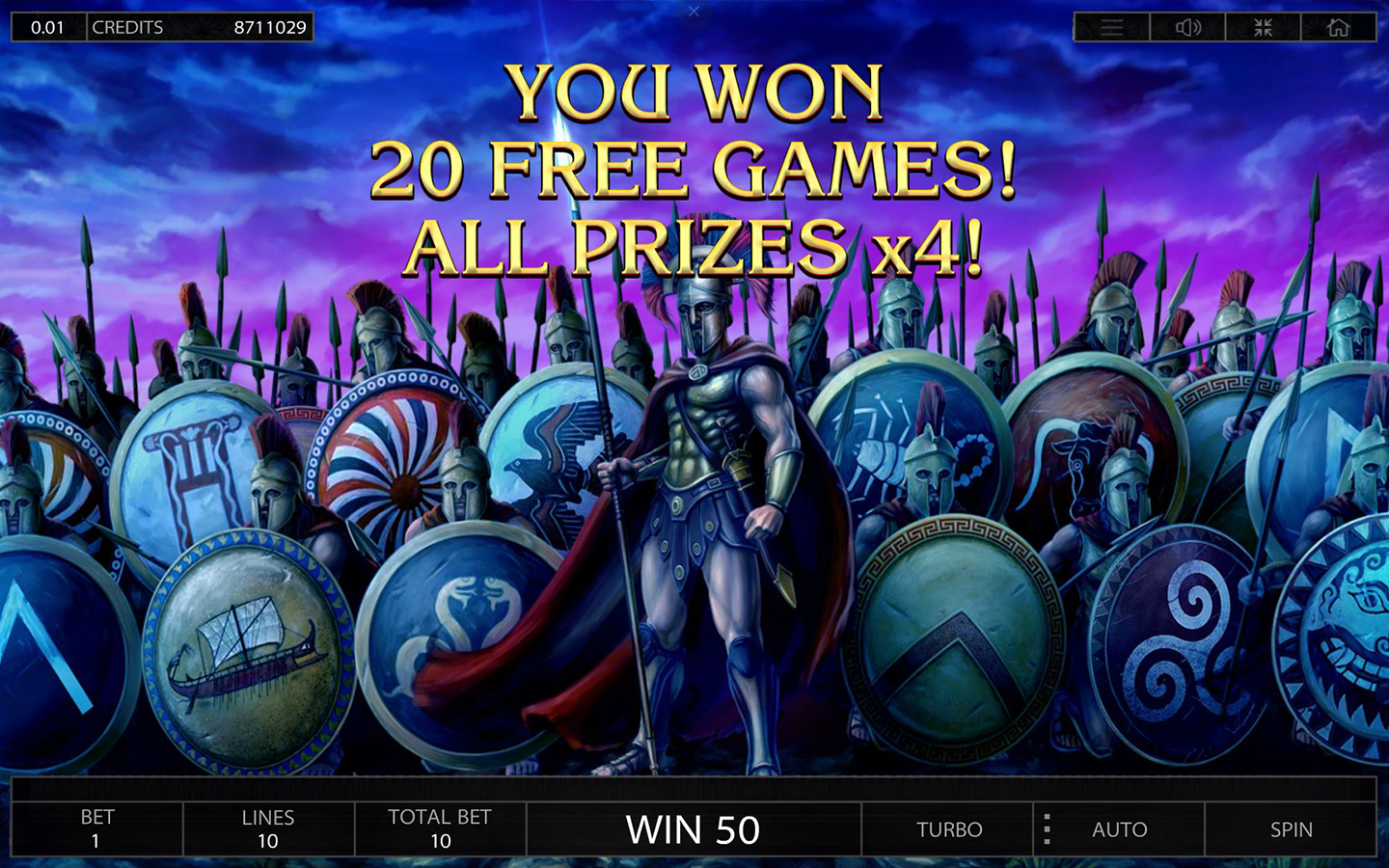 Almighty Sparta free spins